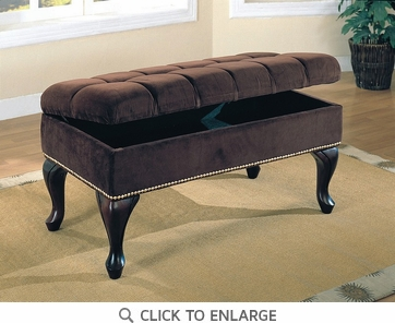 Brown Storage Bench with Tufted Buttons by Coaster - 300095