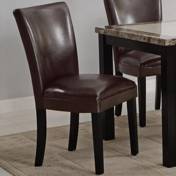 Brown Vinyl Upholstered Parson Dining Chairs by Coaster 102263 - Set of 2