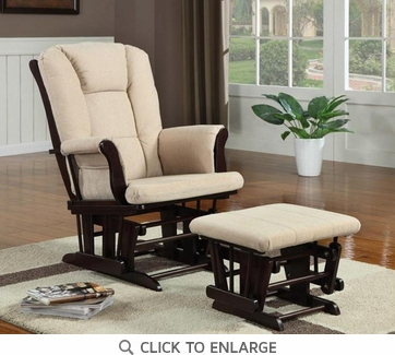 Cappuccino and Beige Microfiber Glider with Ottoman by Coaster - 650011