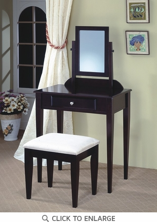 Cappuccino Finish Make Up Vanity and Stool by Coaster - 300079