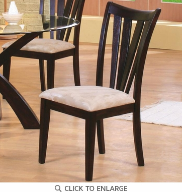 Cappuccino Vertical Slat Back Dining Chairs 101072 - Set of 2