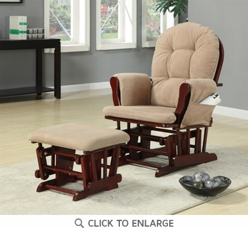 Cherry and Tan Microfiber Glider with Ottoman by Coaster - 650010