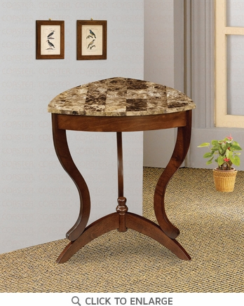 Cherry Finish Accent End Table with Faux Marble Top by Coaster - 900942