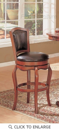 Cherry Finish Faux Leather Swivel Bar Stool by Coaster