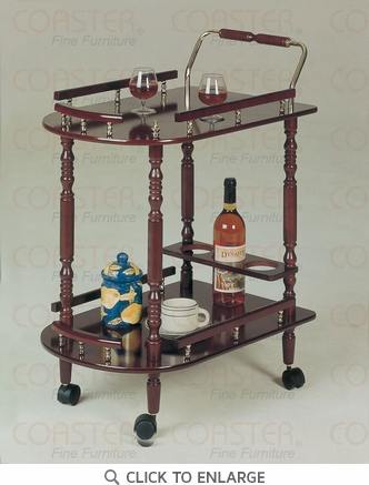 Cherry Serving Cart with Brass Accents by Coaster - 3512