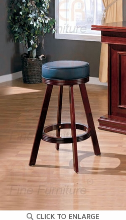 Cherry Wood Swivel Bar Stool with Black Seat by Coaster - 100129