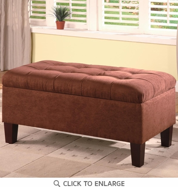 Chocolate Microfiber Ottoman Bench by Coaster - 501040