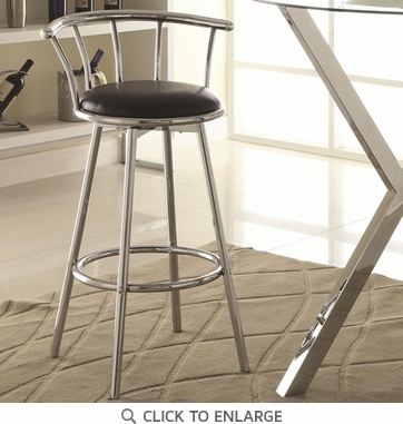Chrome Plated Black Bar Stools (Set of 2) by Coaster - 2244