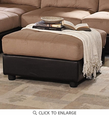 Claude Brown Microfiber Two Tone Ottoman by Coaster - 551003