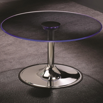 Coffee Table with Chrome Base and LED Light Glass Top by Coaster 701498