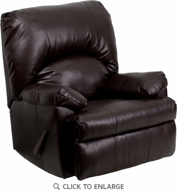 Contemporary Apache Brown Leather Rocker Recliner