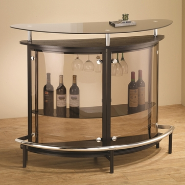 Contemporary Black Bar Unit with Smoked Acrylic Front by Coaster 101065