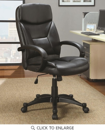 Contemporary Black Leather Like Vinyl Executive Office Chair by Coaster 800204