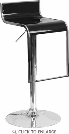 Contemporary Black Plastic Adjustable Height Barstool with Chrome Drop Frame [CH-TC3-1027P-BK-GG]