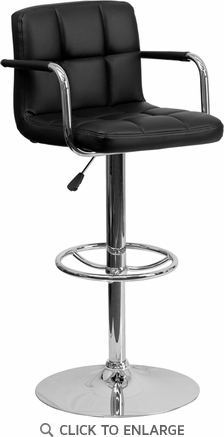 Contemporary Black Quilted Vinyl Adjustable Height Barstool with Arms and Chrome Base [CH-102029-BK-GG]