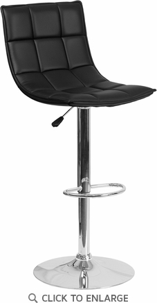 Contemporary Black Quilted Vinyl Adjustable Height Barstool with Chrome Base [CH-92026-1-BK-GG]