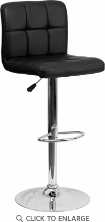 Contemporary Black Quilted Vinyl Adjustable Height Barstool with Chrome Base [DS-810-MOD-BK-GG]
