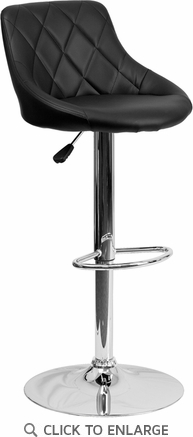 Contemporary Black Vinyl Bucket Seat Adjustable Height Barstool with Chrome Base [CH-82028A-BK-GG]