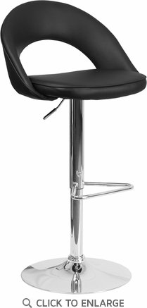 Contemporary Black Vinyl Rounded Back Adjustable Height Barstool with Chrome Base [CH-132491-BK-GG]