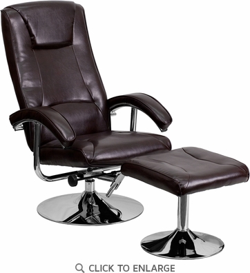 Contemporary Brown Leather Recliner and Ottoman with Chrome Base