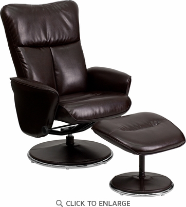 Contemporary Brown Leather Recliner and Ottoman with Circular Leather Wrapped Base