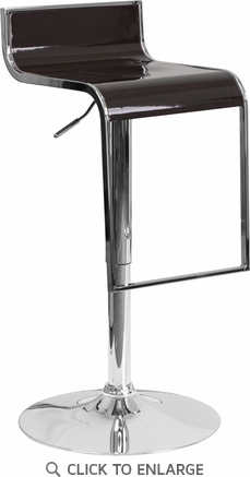 Contemporary Brown Plastic Adjustable Height Barstool with Chrome Drop Frame [CH-TC3-1027P-BRN-GG]