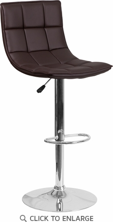 Contemporary Brown Quilted Vinyl Adjustable Height Barstool with Chrome Base [CH-92026-1-BRN-GG]