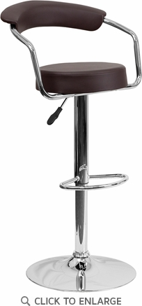 Contemporary Brown Vinyl Adjustable Height Barstool with Arms and Chrome Base [CH-TC3-1060-BRN-GG]
