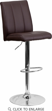 Contemporary Brown Vinyl Adjustable Height Barstool with Chrome Base [CH-122090-BRN-GG]