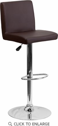 Contemporary Brown Vinyl Adjustable Height Barstool with Chrome Base [CH-92066-BRN-GG]