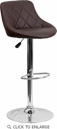 Contemporary Brown Vinyl Bucket Seat Adjustable Height Barstool with Chrome Base [CH-82028A-BRN-GG]