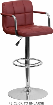 Contemporary Burgundy Quilted Vinyl Adjustable Height Barstool with Arms and Chrome Base [CH-102029-BURG-GG]