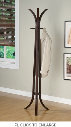 Contemporary Cappuccino Wood Coat Rack Hall Tree by Coaster - 900816
