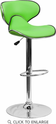 Contemporary Cozy Mid-Back Green Vinyl Adjustable Height Barstool with Chrome Base [DS-815-GRN-GG]