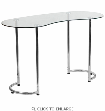 Contemporary Desk with Clear Tempered Glass [NAN-YLCD1235-GG]