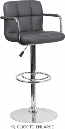 Contemporary Gray Quilted Vinyl Adjustable Height Barstool with Arms and Chrome Base [CH-102029-GY-GG]