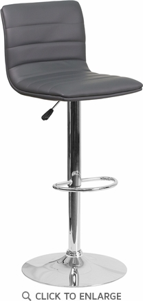 Contemporary Gray Vinyl Adjustable Height Barstool with Chrome Base [CH-92023-1-GY-GG]