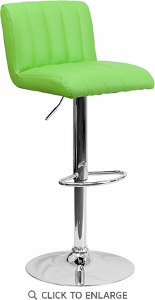 Contemporary Green Vinyl Adjustable Height Barstool with Chrome Base [CH-112010-GRN-GG]