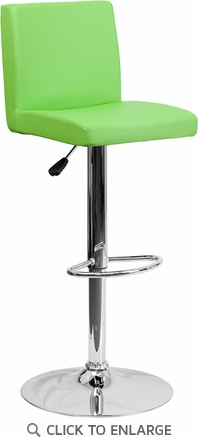 Contemporary Green Vinyl Adjustable Height Barstool with Chrome Base [CH-92066-GRN-GG]