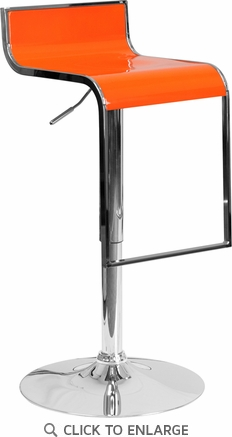 Contemporary Orange Plastic Adjustable Height Barstool with Chrome Drop Frame [CH-TC3-1027P-ORG-GG]