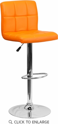 Contemporary Orange Quilted Vinyl Adjustable Height Barstool with Chrome Base [DS-810-MOD-ORG-GG]
