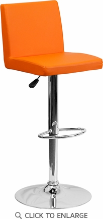 Contemporary Orange Vinyl Adjustable Height Barstool with Chrome Base [CH-92066-ORG-GG]
