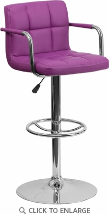 Contemporary Purple Quilted Vinyl Adjustable Height Barstool with Arms and Chrome Base [CH-102029-PUR-GG]