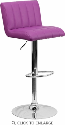 Contemporary Purple Vinyl Adjustable Height Barstool with Chrome Base [CH-112010-PUR-GG]