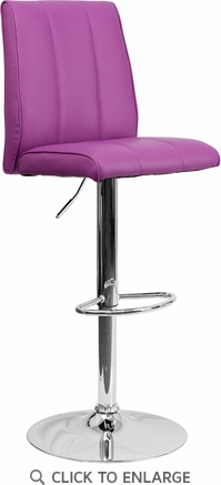 Contemporary Purple Vinyl Adjustable Height Barstool with Chrome Base [CH-122090-PUR-GG]