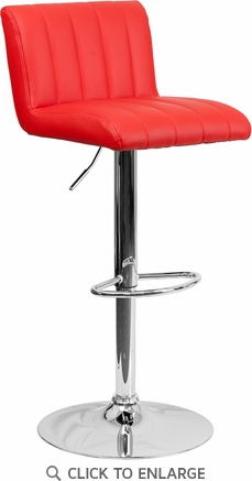 Contemporary Red Vinyl Adjustable Height Barstool with Chrome Base [CH-112010-RED-GG]
