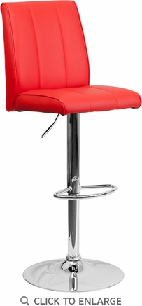 Contemporary Red Vinyl Adjustable Height Barstool with Chrome Base [CH-122090-RED-GG]