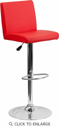 Contemporary Red Vinyl Adjustable Height Barstool with Chrome Base [CH-92066-RED-GG]
