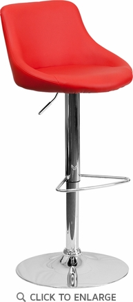Contemporary Red Vinyl Bucket Seat Adjustable Height Barstool with Chrome Base [CH-82028-MOD-RED-GG]
