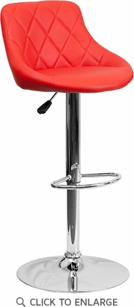 Contemporary Red Vinyl Bucket Seat Adjustable Height Barstool with Chrome Base [CH-82028A-RED-GG]